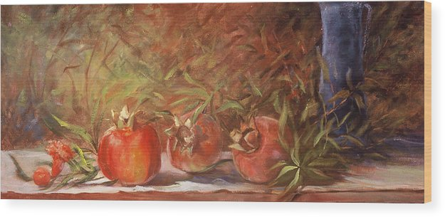 Still Life Wood Print featuring the painting Pomegranates by Jimmie Trotter