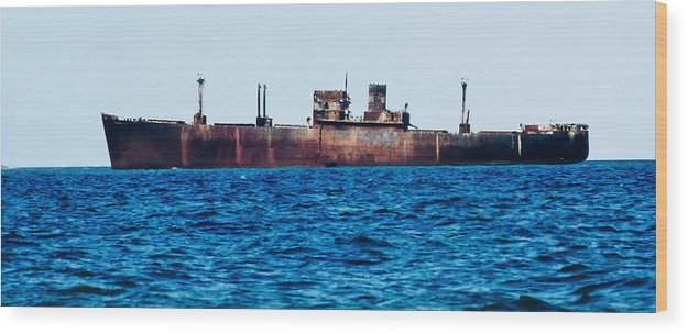 Ship Wreck Wood Print featuring the photograph Ship Wreck by Victor F Colerdi