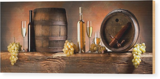 Cask Wood Print featuring the painting Barrels Grapes by Tian Chen