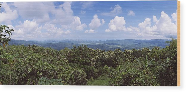 Photography Wood Print featuring the photograph Clouds Over Mountains, Flores Island by Panoramic Images