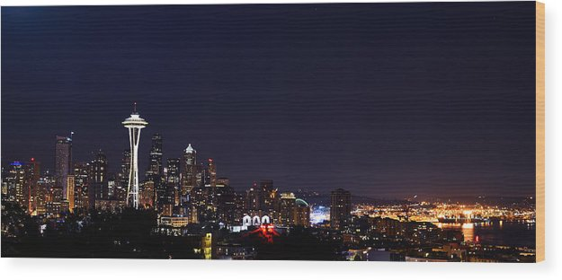 Seattle Wood Print featuring the photograph Colorful Citylights by Abhay P