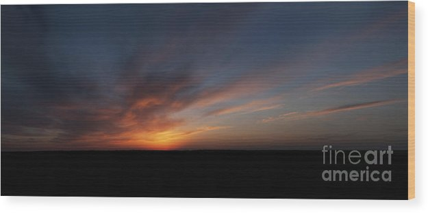 Prairie Sunset Wood Print featuring the photograph From The Hilltop - 72x30 by Art Whitton