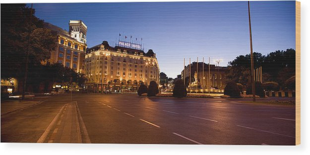 Photography Wood Print featuring the photograph Plaza De Neptuno And Palace Hotel by Panoramic Images