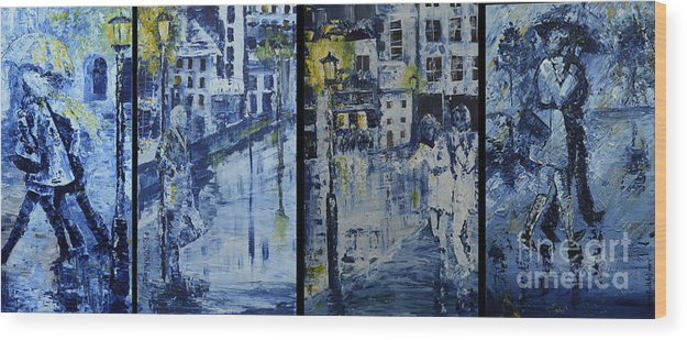 Winter Wood Print featuring the painting Winter Night In The City by Roni Ruth Palmer