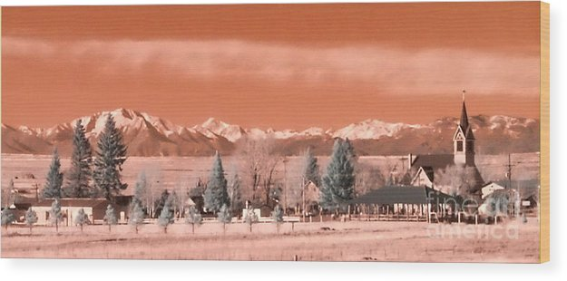 Orange Wood Print featuring the photograph Church In The Mountains by Peggy Starks