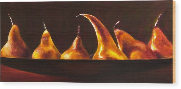 Pears Wood Print featuring the painting All Aboard by Shannon Grissom