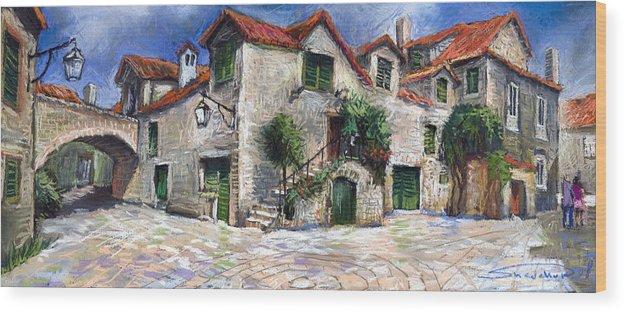 Pastel On Paper Wood Print featuring the painting Croatia Dalmacia Square by Yuriy Shevchuk