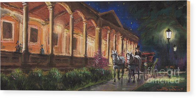 Pastel Wood Print featuring the painting Germany Baden-baden 13 by Yuriy Shevchuk