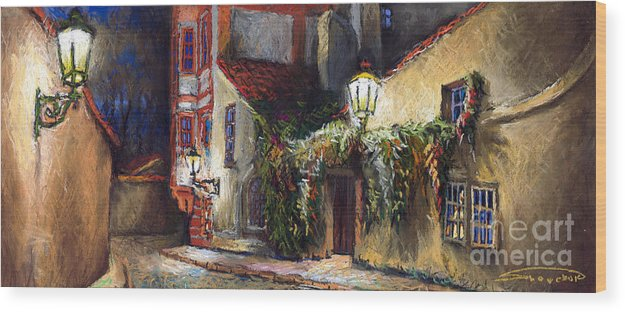 Prague Wood Print featuring the painting Prague Novy Svet Kapucinska Str by Yuriy Shevchuk