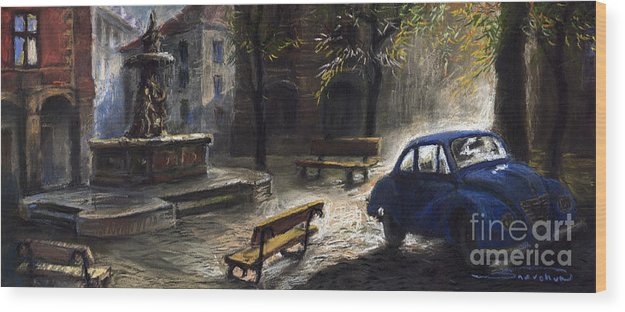 Prague Wood Print featuring the painting Prague Old Fountain by Yuriy Shevchuk