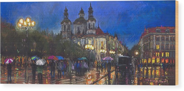 Prague Wood Print featuring the pastel Prague Old Town Square St Nikolas Ch by Yuriy Shevchuk