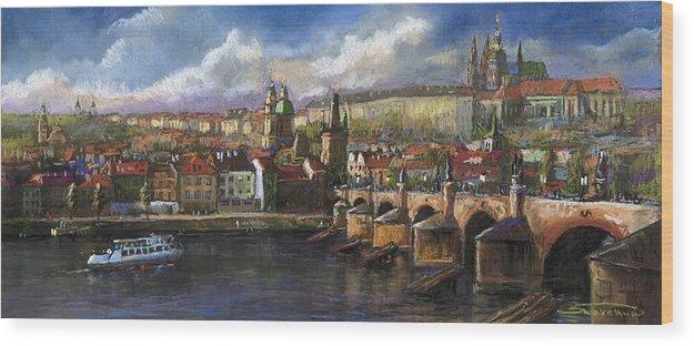 Pastel Wood Print featuring the painting Prague Panorama Charles Bridge Prague Castle by Yuriy Shevchuk