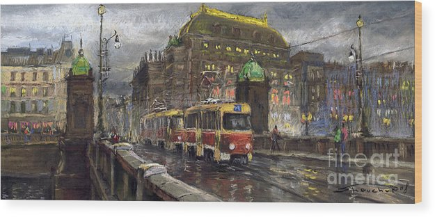 Prague Wood Print featuring the painting Prague Tram Legii Bridge National Theatre by Yuriy Shevchuk