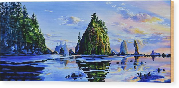 Sea Stack Wood Print featuring the painting Sea Stack Serenity by Hanne Lore Koehler