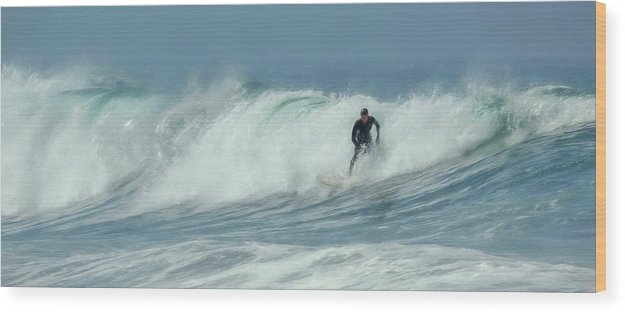 Surfing On The Oregon Coast Wood Print featuring the photograph Surfing On The Oregon Coast by Wes and Dotty Weber
