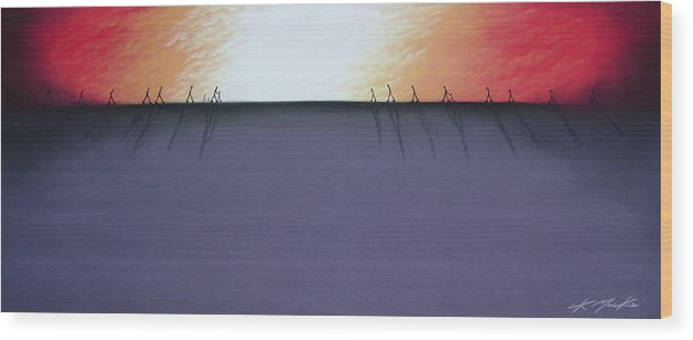 Wood Print featuring the pastel The Beginning Of The End II by Chris Mackie