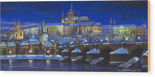 Prague Wood Print featuring the painting The Prague Panorama by Yuriy Shevchuk