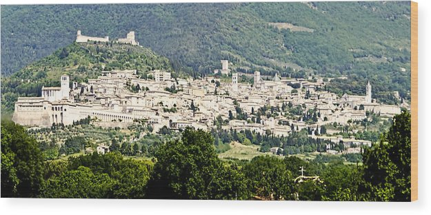 Assisi Italy Wood Print featuring the photograph Assisi Italy - Medieval Hilltop City by Jon Berghoff