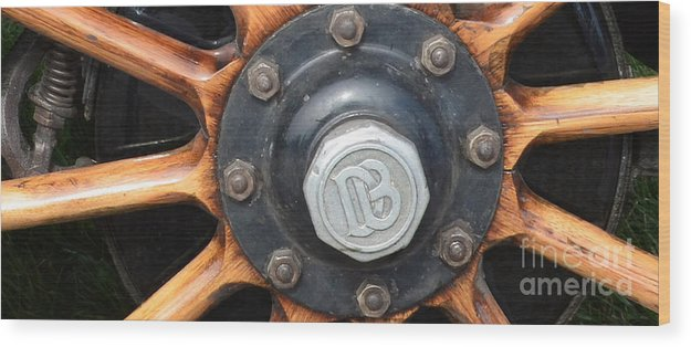 Dodge Brothers' Hubcap And Spokes Wood Print featuring the photograph Dodge Brothers Hubcap And Spokes by Luther Fine Art