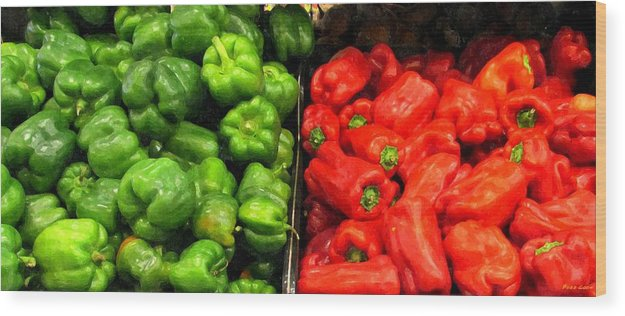 Green And Red Pepper Art Wood Print featuring the photograph Green And Red Pepper by Buzz Coe