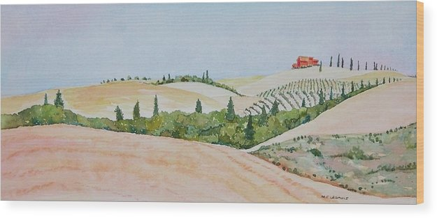 Landscape Wood Print featuring the painting Tuscan Hillside One by Mary Ellen Mueller Legault