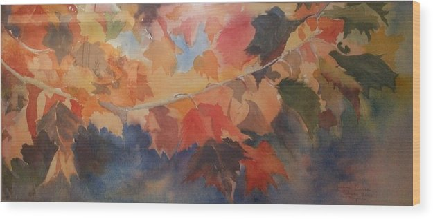 Mauritius Artist Wood Print featuring the painting Autumn Leaves by Janine Casse