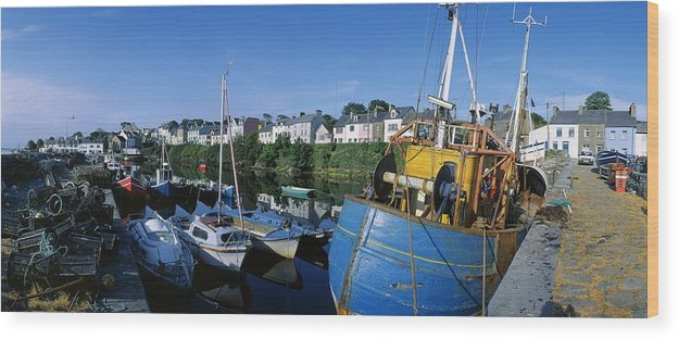 Building Exterior Wood Print featuring the photograph Fishing Boats At A Harbor, Roundstone by The Irish Image Collection