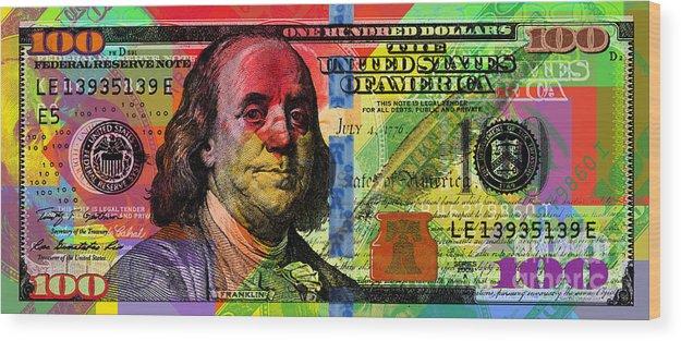 Franklin Wood Print featuring the digital art Benjamin Franklin $100 Bill - Full Size by Jean luc Comperat