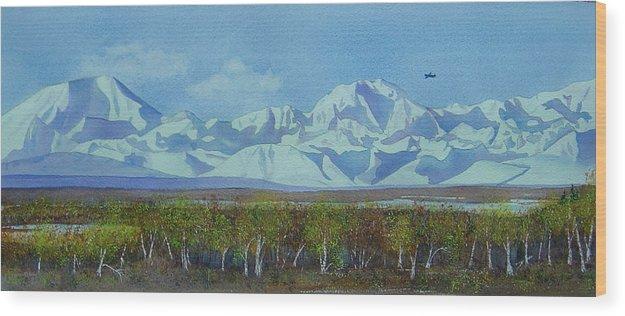 Denali Wood Print featuring the painting Denali Park Alaska by Teresa Boston