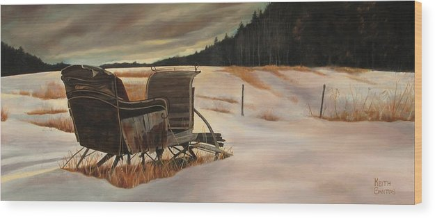 Old Sleigh Wood Print featuring the painting Imaginery Sleigh Ride by Keith Gantos