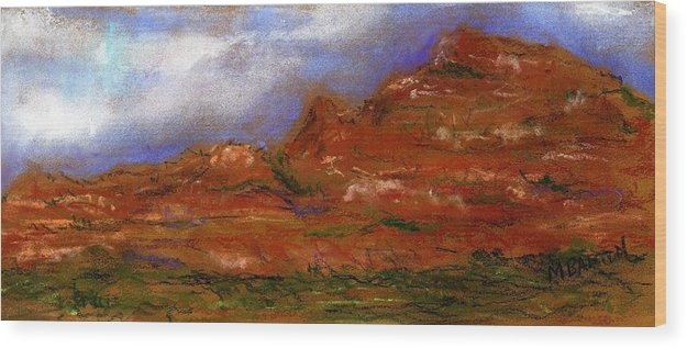 Landscape Wood Print featuring the painting Sedona Storm Clouds by Marilyn Barton