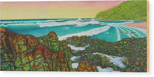 Seascape Wood Print featuring the painting Third Bay Coolum Beach Triptych by Joe Michelli