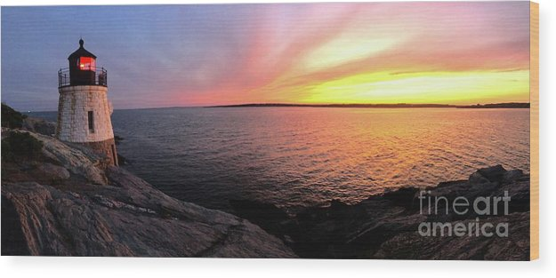 Lighthouse Wood Print featuring the photograph Castle Hill At Sunset by Melissa OGara