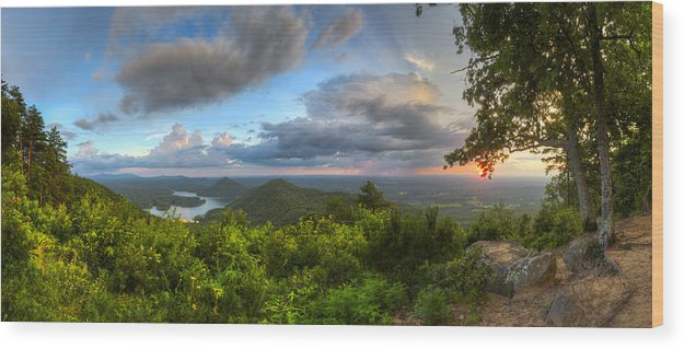 Appalachia Wood Print featuring the photograph Blue Ridge Mountains Panorama by Debra and Dave Vanderlaan