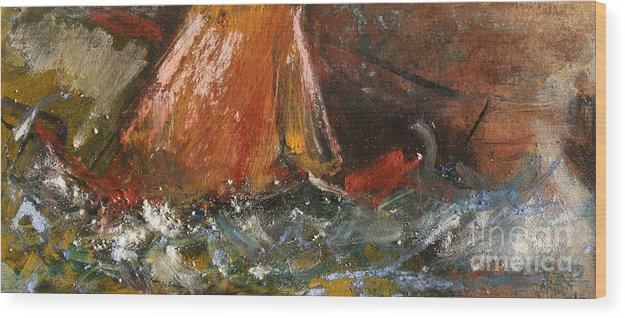 Abstract Wood Print featuring the painting In The Storm by Marija Kulasevic