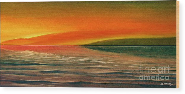 Sunset Wood Print featuring the painting Sunrise Over The Sea by Christian Simonian
