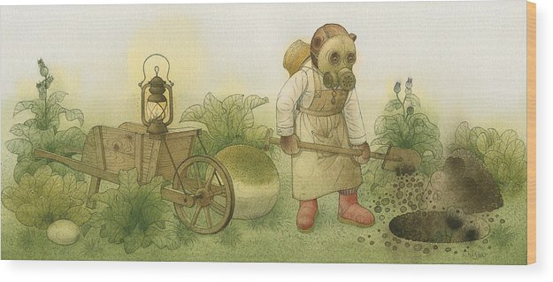 Bears Night Garden Dark Black Roses Flowers Green Magic Wood Print featuring the painting Florentius The Gardener 28 by Kestutis Kasparavicius