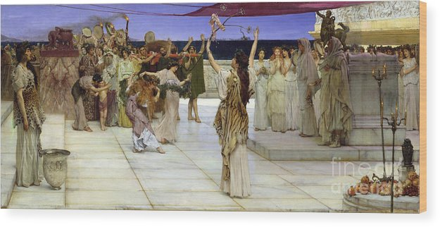 Dedication Wood Print featuring the painting A Dedication To Bacchus by Sir Lawrence Alma Tadema