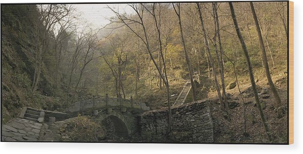 Landscape Trees Trail Bridge Forest Panoramic China Wood Print featuring the photograph Ancient Mountain Trail by Ty Lee