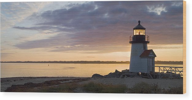 Nantucket Wood Print featuring the photograph Brant Point Dawn - Nantucket by Henry Krauzyk