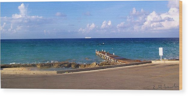 Cayman Wood Print featuring the photograph Cayman Dock by Elise Samuelson