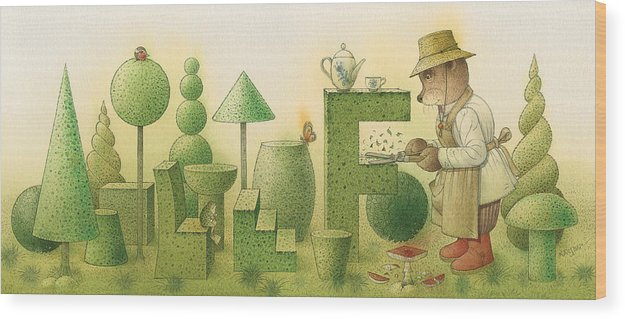Garden Bears Flowers Green Landscape Nature Wood Print featuring the painting Florentius The Gardner24 by Kestutis Kasparavicius