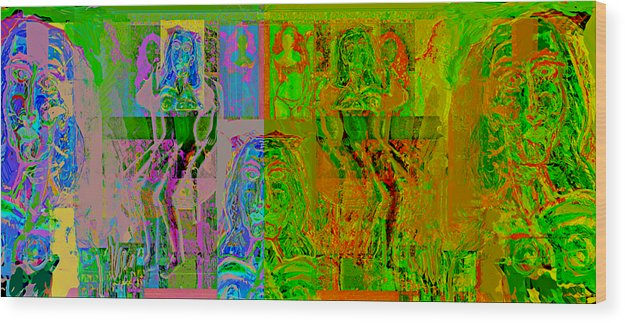 Human Composition Wood Print featuring the painting Pink Lounge II by Noredin Morgan
