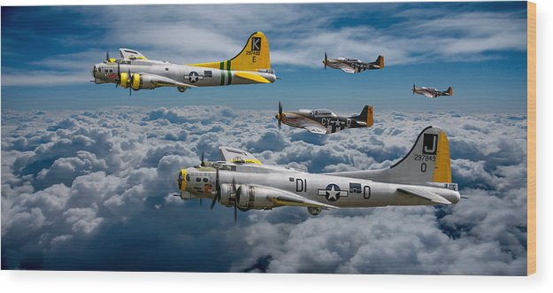 B17 Wood Print featuring the photograph Liberty Belle And Fuddy Duddy With Mustangs by Ken Brannen