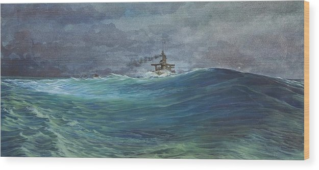 Seascape Wood Print featuring the painting Great White Fleet In A Squall by Stephen Bluto
