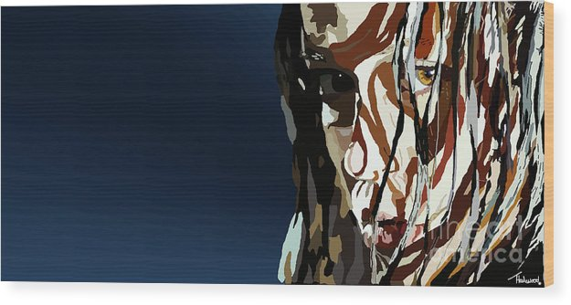 Tamify Wood Print featuring the painting 028. Bullet In The Brain Pan Squish by Tam Hazlewood