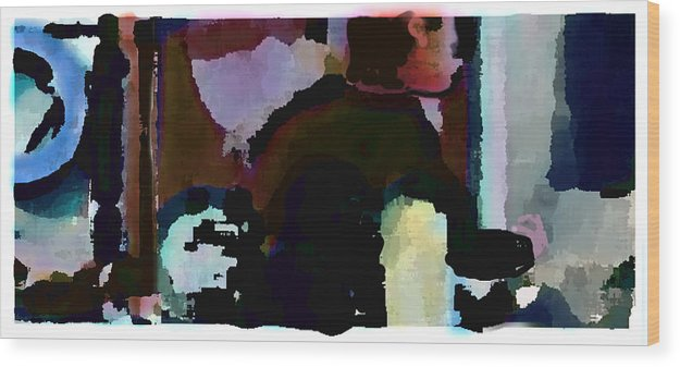 Abstract Expressionism Wood Print featuring the painting Lunch Counter by Steve Karol