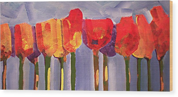 Floural Wood Print featuring the painting Morning Tulips by Dalas Klein