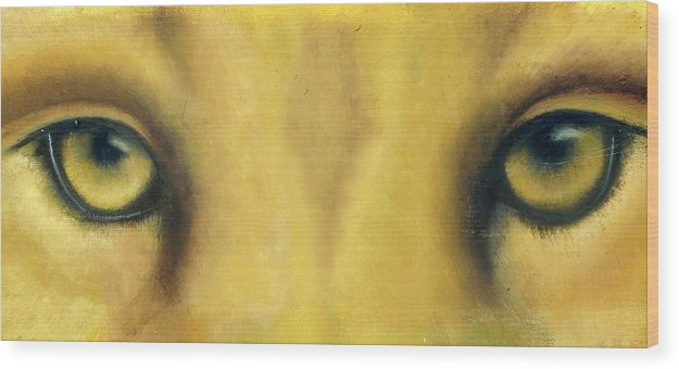 Lion Eyes Wood Print featuring the painting Whos Watching Who by Darlene Green