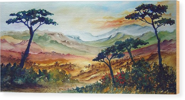 Africa Wood Print featuring the painting Africa by Joanne Smoley